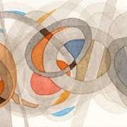 Sepia & Orange Circles Digital Print by Galapon, Nikki,Abstract