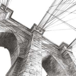 Brooklyn Bridge Panorama Digital Print by Harper, Ethan,Illustration