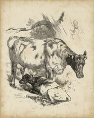 Pastoral Sketch I Digital Print by Unknown,Illustration