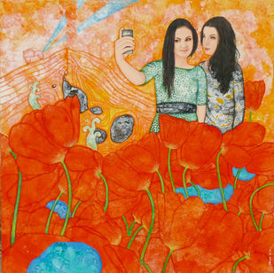 Tulip garden and selfie by Abhisek Dey, Fantasy, Pop Art Painting, Acrylic on Canvas, Orange color