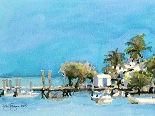 Harbor Island Dock I Digital Print by Fagan, Edie,Impressionism