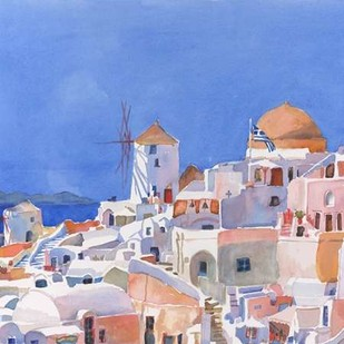 Santorini Watercolor I Digital Print by Fagan, Edie,Impressionism