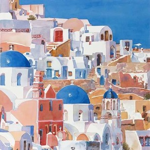 Santorini Watercolor II Digital Print by Fagan, Edie,Impressionism
