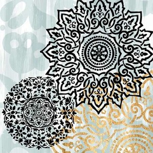 Rosettes on Aqua I Digital Print by Studio W,Decorative