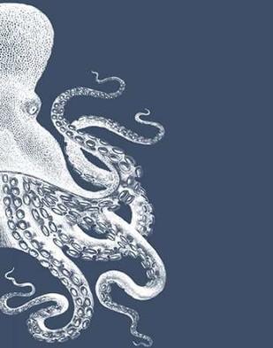 Octopus Indigo Blue and Cream B Digital Print by Fab Funky,Decorative