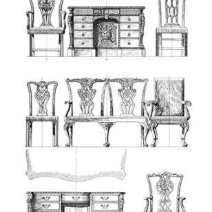 Custom Furniture Blueprint I Digital Print by Vision Studio,Illustration