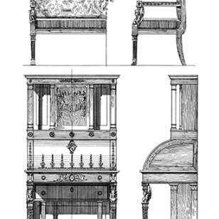 Custom Furniture Blueprint III Digital Print by Vision Studio,Illustration