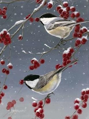 Winter Chickadees II Digital Print by Szatkowski, Fred,Decorative