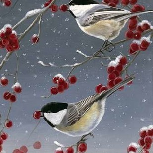Winter Chickadees II Digital Print by Szatkowski, Fred,Decorative