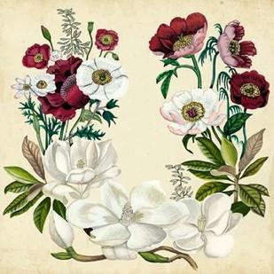 Magnolia and Poppy Wreath I Digital Print by McCavitt, Naomi,Decorative