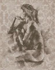 Figure with Damask II Digital Print by Harper, Ethan,Impressionism