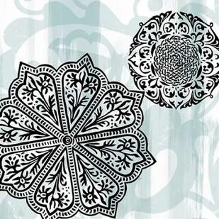 Rosettes on Aqua II Digital Print by Studio W,Decorative