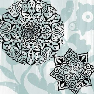 Rosettes on Aqua IV Digital Print by Studio W,Decorative