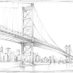 Suspension Bridge Study III Digital Print by Harper, Ethan,Illustration