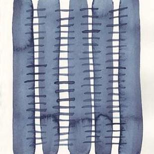 Indigo Stitchy II Digital Print by Galapon, Nikki,Abstract