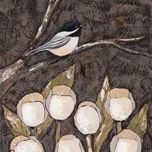 Chickadee and Tulips I Digital Print by Reynolds, Jade,Decorative
