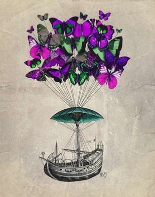 Butterfly Airship 2 Purple and Green Digital Print by Fab Funky,Decorative