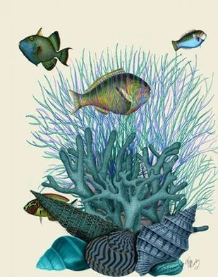 Fish Blue Shells and Corals Digital Print by Fab Funky,Decorative