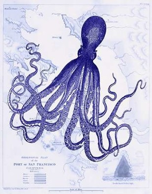 Blue Octopus 1 on Nautical Map Digital Print by Fab Funky,Decorative, Decorative