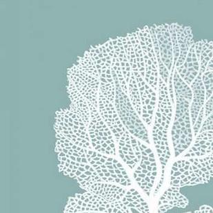 Corals White on Mist Blue Green b Digital Print by Fab Funky,Decorative