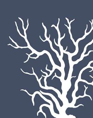 Corals White on Indigo Blue a Digital Print by Fab Funky,Decorative