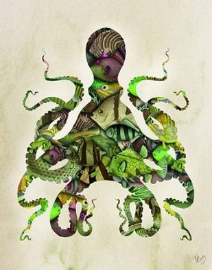 Green and Purple Fishy Octopus Digital Print by Fab Funky,Decorative