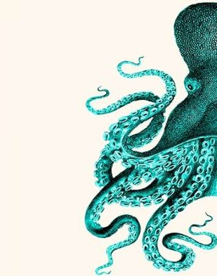 Octopus Green and Cream a Digital Print by Fab Funky,Decorative