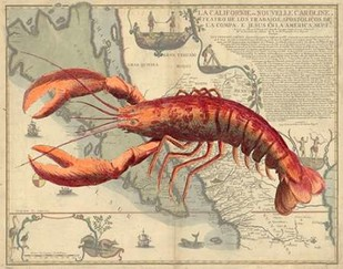 Lobster print on Nautical Map Digital Print by Fab Funky,Realism