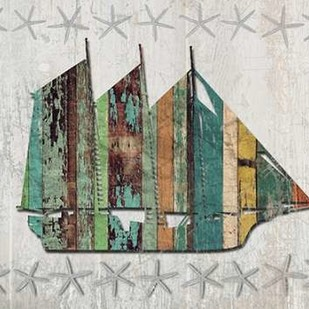 Distressed Wood Style Boat 1 Digital Print by Fab Funky,Decorative