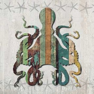 Distressed Wood Style Octopus 1 Digital Print by Fab Funky,Decorative