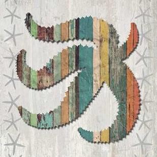 Distressed Wood Style Starfish 2 Digital Print by Fab Funky,Decorative