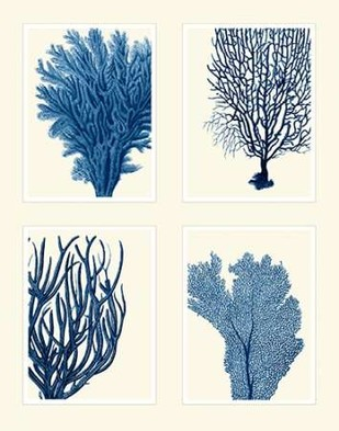 Blue Coral Print on 4 Panels Digital Print by Fab Funky,Decorative