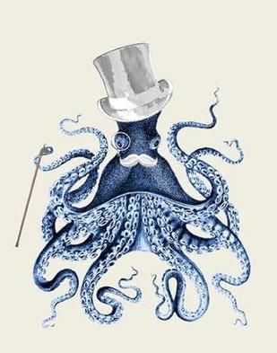 Blue Octopus on Cream b Digital Print by Fab Funky,Decorative