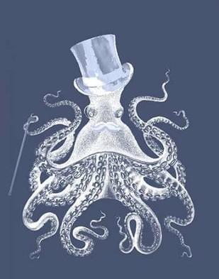 White Octopus on Indigo Blue b Digital Print by Fab Funky,Decorative