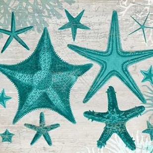 Green Starfish Collection Digital Print by Fab Funky,Decorative