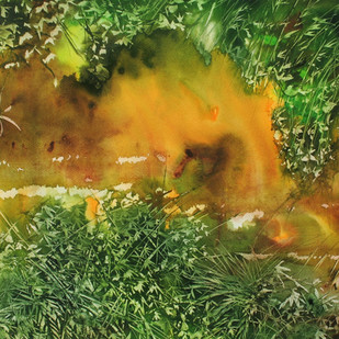 Pond in Manipal by Milind Nayak, Impressionism Painting, Watercolor on Paper, Green color