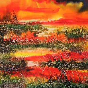 Sunset on the pond by Milind Nayak, Impressionism Painting, Watercolor on Paper, Brown color