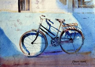 Spotlight # 2 by Ramesh Jhawar, Impressionism Painting, Watercolor on Paper, Cyan color