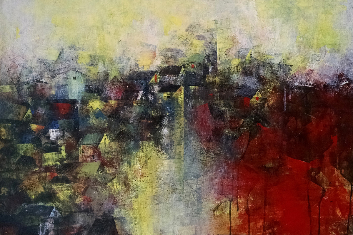 Distant view of a Village by M Singh, Abstract Painting, Acrylic on Canvas, Brown color
