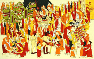 Harni Mela by Ratan Parimoo, Impressionism Printmaking, Serigraph on Paper, Beige color