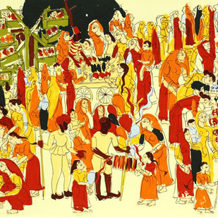 Harni Mela by Ratan Parimoo, Impressionism Printmaking, Serigraph on Paper, Beige color