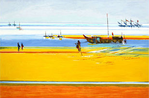 By The Sea by Natu Parikh, Impressionism Printmaking, Serigraph on Paper, Cyan color