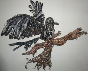 Magpie by Christina Chavez Banerjee, Decorative Sculpture | 3D, Mixed Media, Gray color