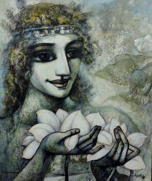 Peace.1 by Asit Kumar Sarkar, Impressionism Painting, Acrylic on Canvas, Gray color