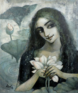 Peace 2 by Asit Kumar Sarkar, Impressionism Painting, Acrylic on Canvas, Gray color