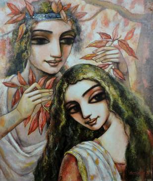 Love 1 by Asit Kumar Sarkar, Decorative Painting, Acrylic on Canvas, Brown color
