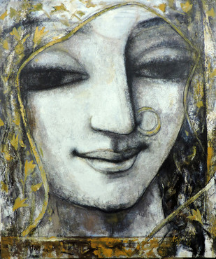 Expression.1 by Asit Kumar Sarkar, Impressionism Painting, Acrylic on Canvas, Gray color