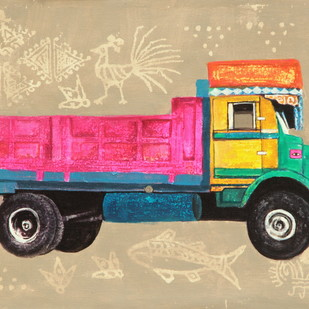 allegory of rice route by Tushar Waghela, Pop Art Painting, Acrylic on Canvas, Beige color