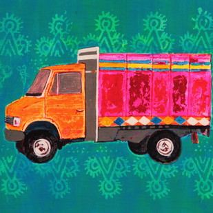 allegory of rice route : desi roadies by Tushar Waghela, Pop Art Painting, Acrylic on Canvas, Cyan color