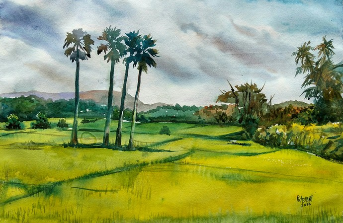 Landscape 6 by Prabhakaran, Impressionism Painting, Watercolor on Paper, Green color